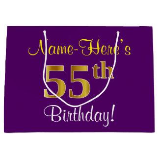 Elegant, Purple, Faux Gold 55th Birthday + Name Large Gift Bag