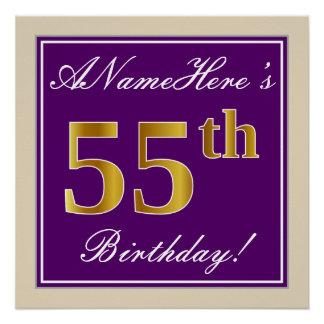 Elegant, Purple, Faux Gold 55th Birthday + Name Poster