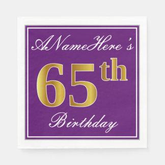Elegant Purple, Faux Gold 65th Birthday + Name Disposable Serviettes