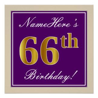 Elegant, Purple, Faux Gold 66th Birthday + Name Poster