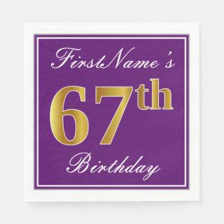 Elegant Purple, Faux Gold 67th Birthday + Name Paper Napkins