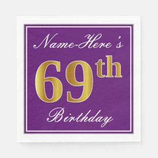 Elegant Purple, Faux Gold 69th Birthday + Name Disposable Serviette