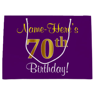 Elegant, Purple, Faux Gold 70th Birthday + Name Large Gift Bag