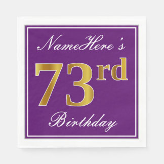 Elegant Purple, Faux Gold 73rd Birthday + Name Paper Napkin