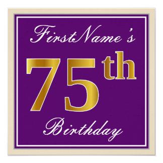 Elegant, Purple, Faux Gold 75th Birthday + Name Card