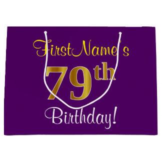 Elegant, Purple, Faux Gold 79th Birthday + Name Large Gift Bag