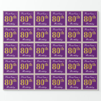 Elegant, Purple, Faux Gold 80th Birthday + Name Wrapping Paper