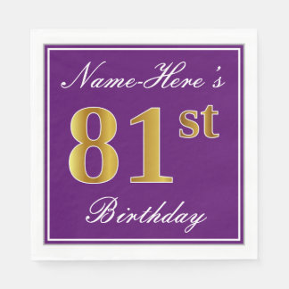 Elegant Purple, Faux Gold 81st Birthday + Name Disposable Napkin