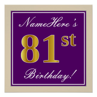 Elegant, Purple, Faux Gold 81st Birthday + Name Poster