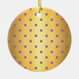 elegant purple faux gold polka dots ceramic ornament