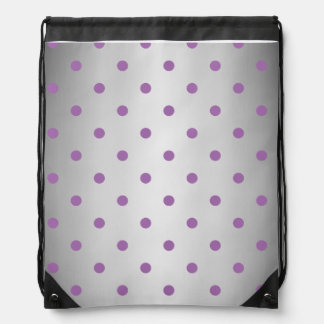 elegant purple faux silver polka dots drawstring bag