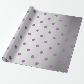 elegant purple faux silver polka dots wrapping paper