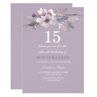 Elegant Purple Floral 15th Birthday Party Invite