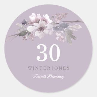 Elegant Purple Floral 30th Birthday Party Classic Round Sticker