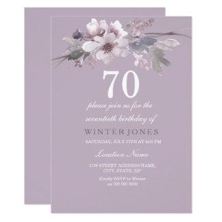 Elegant Purple Floral 70th Birthday Party Invite