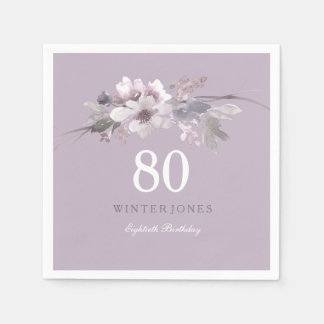 Elegant Purple Floral 80th Birthday Party Paper Serviettes