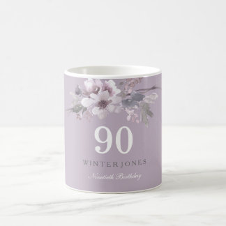 Elegant Purple Floral 90th Birthday Party Gift Coffee Mug