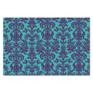 Elegant Purple Floral Damasks Teal Background Tissue Paper