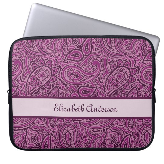 Elegant Purple Floral Paisley Pattern With Name Laptop Sleeve