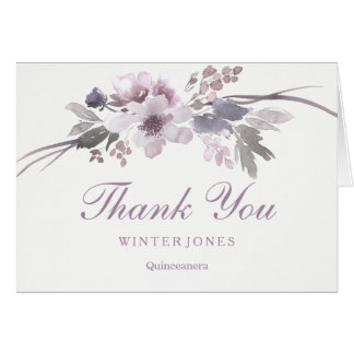 Elegant Purple Floral QuinceaneraThank You Card