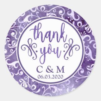 Elegant Purple Flourishes Wedding Thank You Classic Round Sticker
