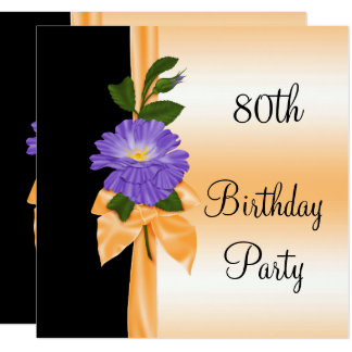 Elegant Purple Flower & Orange Ribbon 80th Card