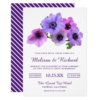 Elegant Purple Flowers Anemone Wedding Invitation