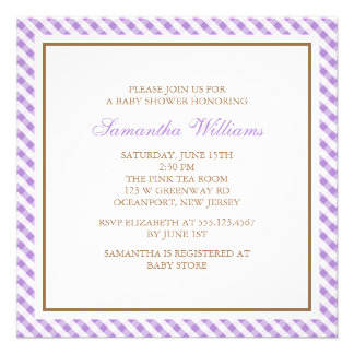 Elegant Purple Gingham Pattern Baby Shower Invitation