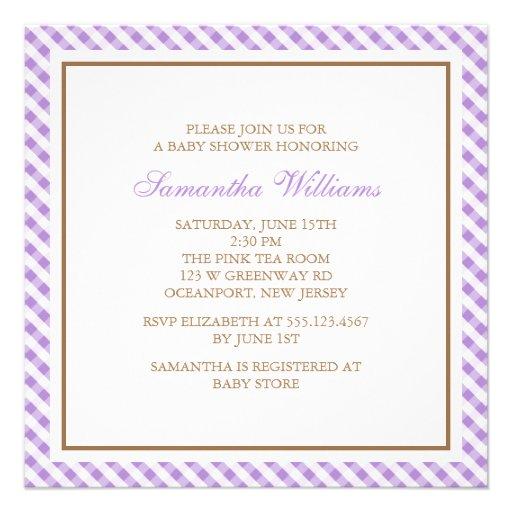 Elegant Purple Gingham Pattern Baby Shower Invitation