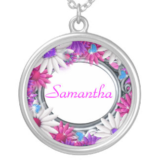 Elegant purple girls silver plated necklace