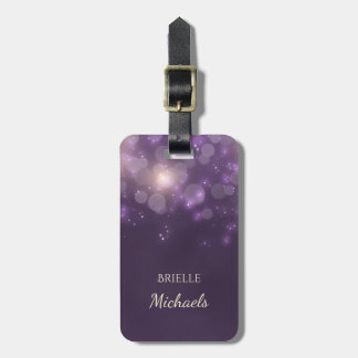 Elegant Purple Glitter Bokeh Sparkles With Name Luggage Tag