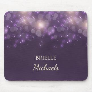 Elegant Purple Glitter Bokeh Sparkles With Name Mouse Pad