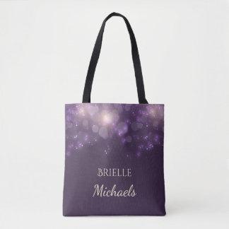 Elegant Purple Glitter Bokeh Sparkles With Name Tote Bag