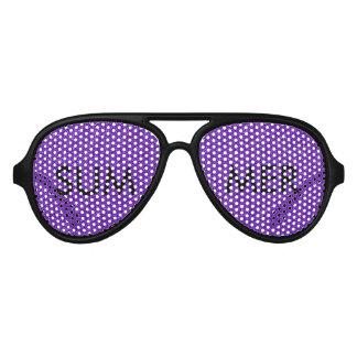 Elegant Purple Glitter Look Texture Aviator Sunglasses