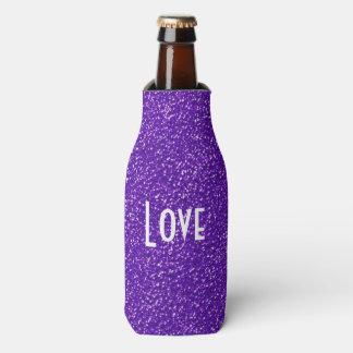 Elegant Purple Glitter Look Texture Bottle Cooler