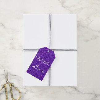 Elegant Purple Glitter Look Texture Gift Tags