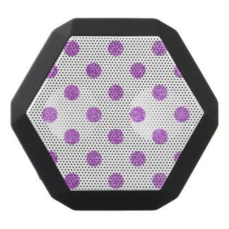 Elegant Purple Glitter Polka Dots Pattern Black Bluetooth Speaker