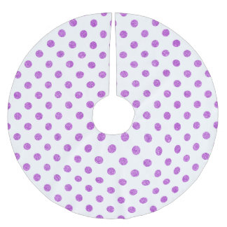 Elegant Purple Glitter Polka Dots Pattern Brushed Polyester Tree Skirt