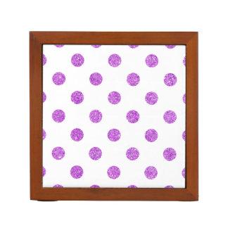 Elegant Purple Glitter Polka Dots Pattern Desk Organiser