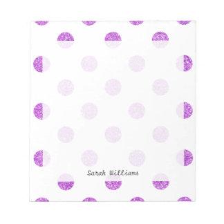 Elegant Purple Glitter Polka Dots Pattern Notepad