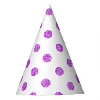 Elegant Purple Glitter Polka Dots Pattern Party Hat