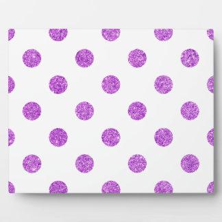 Elegant Purple Glitter Polka Dots Pattern Plaque