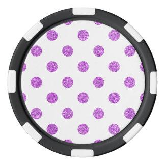 Elegant Purple Glitter Polka Dots Pattern Poker Chips