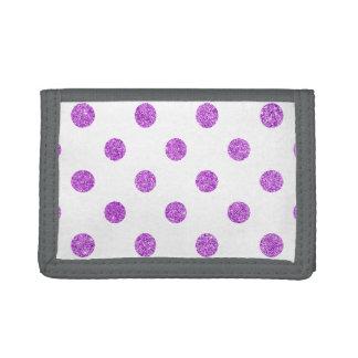 Elegant Purple Glitter Polka Dots Pattern Trifold Wallet