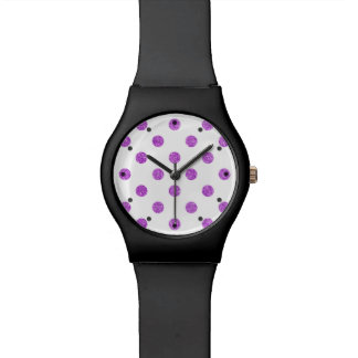 Elegant Purple Glitter Polka Dots Pattern Watch