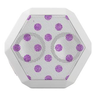 Elegant Purple Glitter Polka Dots Pattern White Bluetooth Speaker