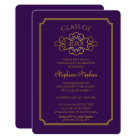 Elegant Purple | Gold College Graduation Party Card