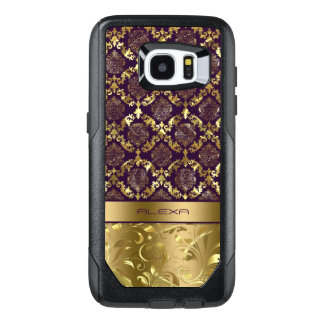 Elegant Purple & Gold Damasks Design OtterBox Samsung Galaxy S7 Edge Case
