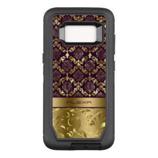 Elegant Purple & Gold Damasks Metallic Texture OtterBox Defender Samsung Galaxy S8 Case