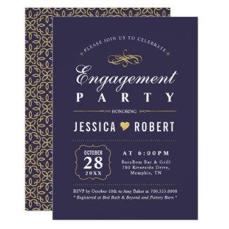Elegant Purple & Gold Engagement Party Invitation